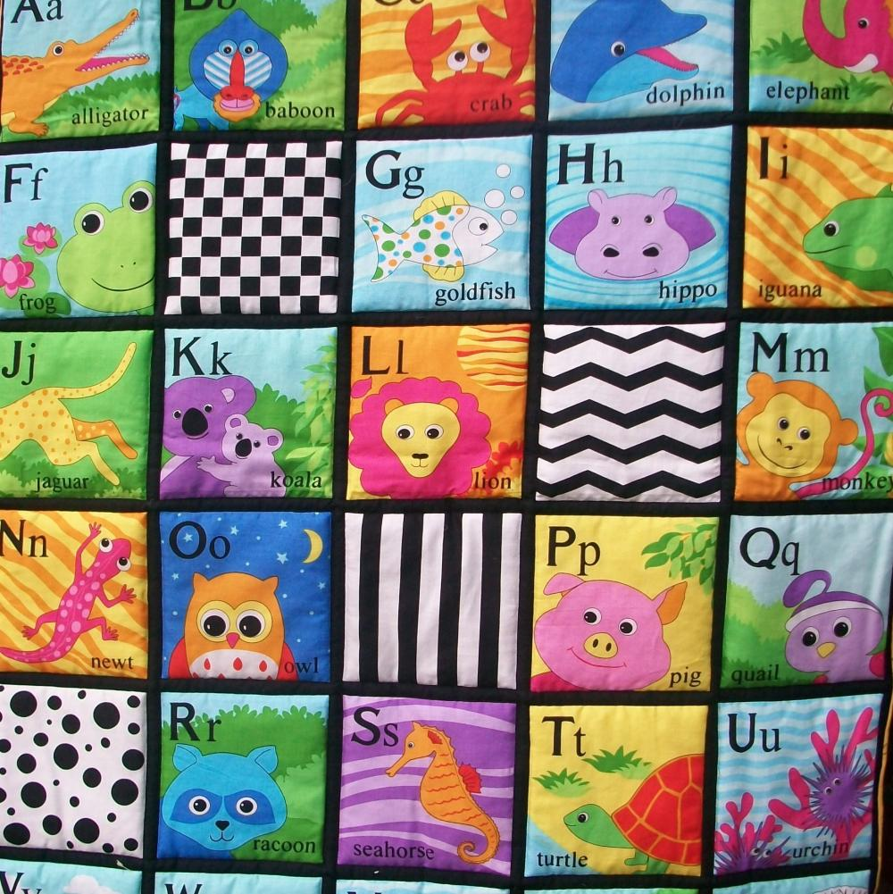 Alphabet colorful quilted wall hanging/ playmat