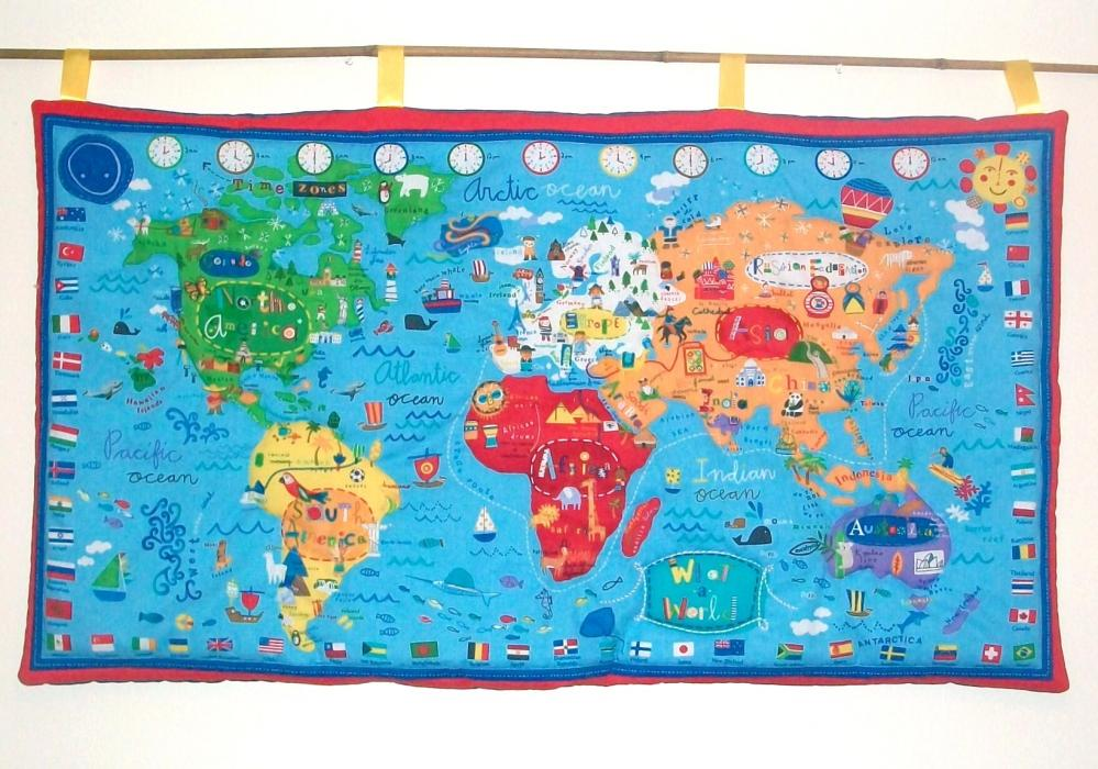 World Map Quilted Wall Hanging