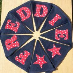 Personalized Bunting Banner- red and white stars