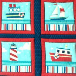 Nautical boat ship lighthouse Quilted Wall Hanging 6 pictures