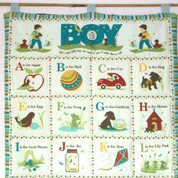 Alphabet Boys Blue Quilted wall hanging ABC