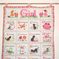 Alphabet Girls Pink Quilted wall hanging ABC
