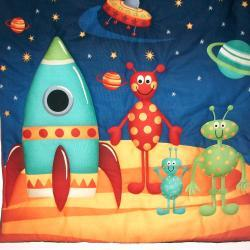 Rocket, Spaceship, Aliens, flying saucer, space theme quilted wall hanging